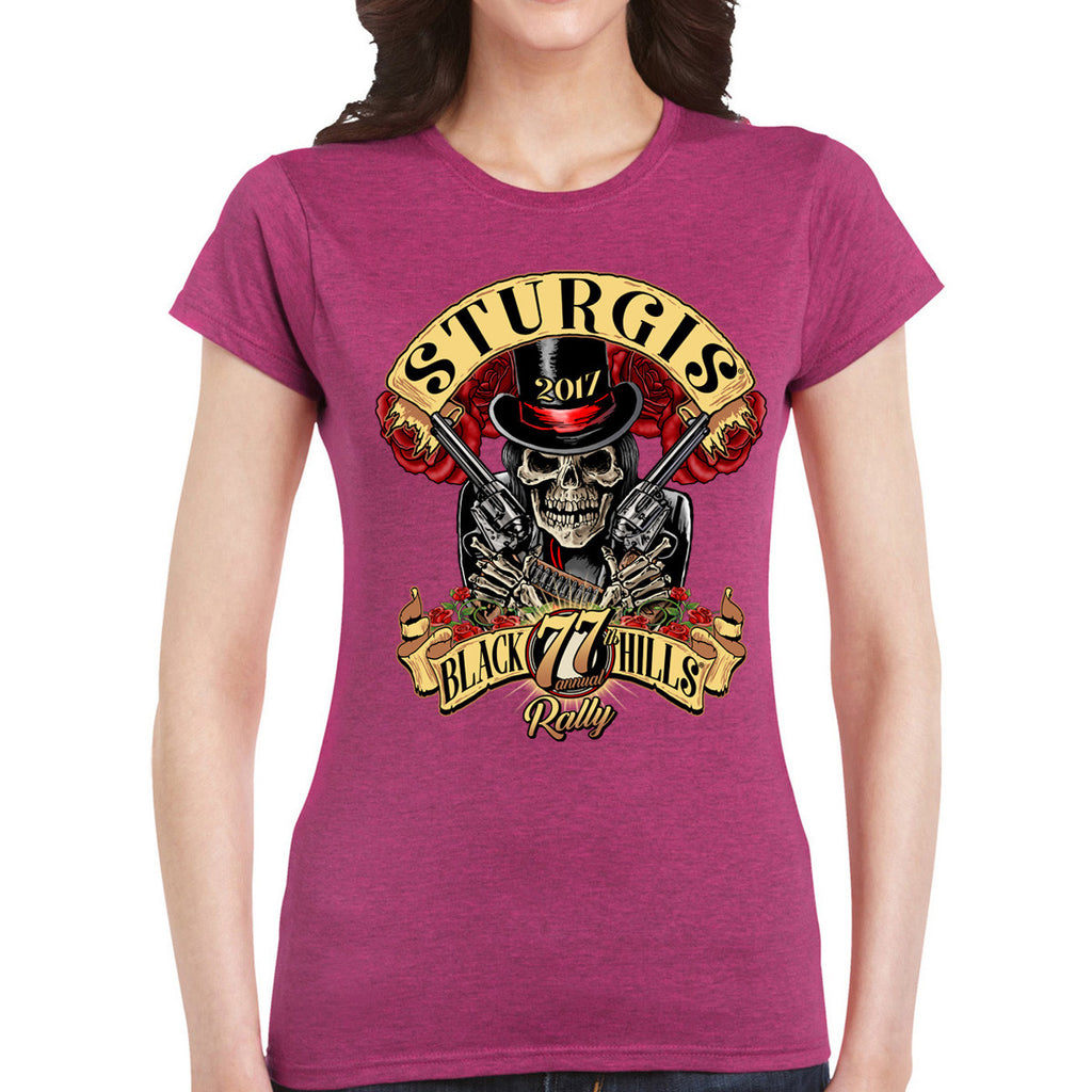 Ladies 2017 Sturgis Roses N' Guns Crew Neck Tee