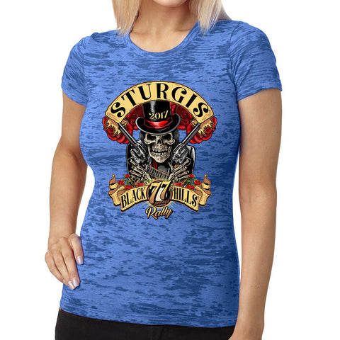 2017 Ladies Sturgis Roses N' Guns Burnout T-Shirt