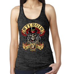 2017 Ladies Sturgis Roses N' Guns Burnout Racerback