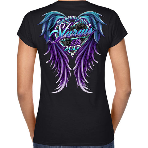 Ladies 2017 Sturgis Purple Wings V-Neck Tee