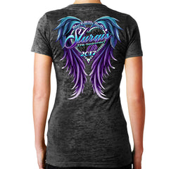 2017 Ladies Sturgis Purple Wings Burnout V-Neck
