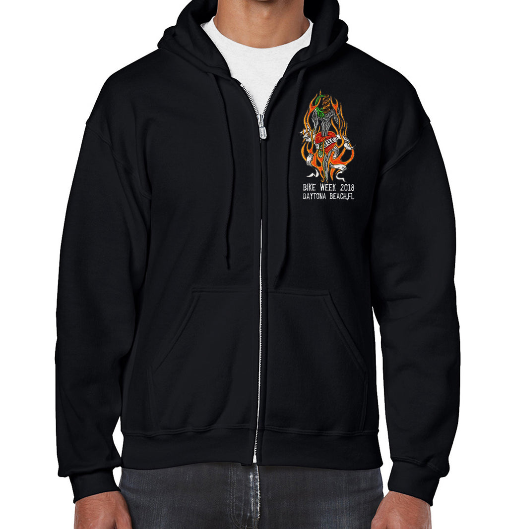 2018 Bike Week Daytona Beach Embroidered Love Heart Zip-Up Hoodie