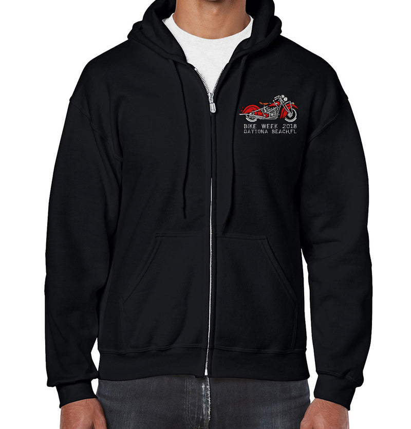 2018 Bike Week Daytona Beach Embroidered Motorcycle Zip-Up Hoodie