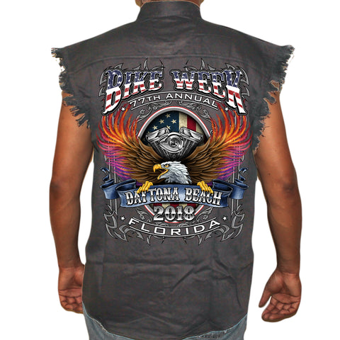 2018 Bike Week Daytona Beach B-Strong Cut-Off Denim