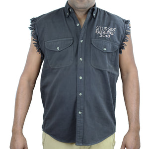 2018 Sturgis Black Hill Rally Ascended Skull Cut-Off Denim