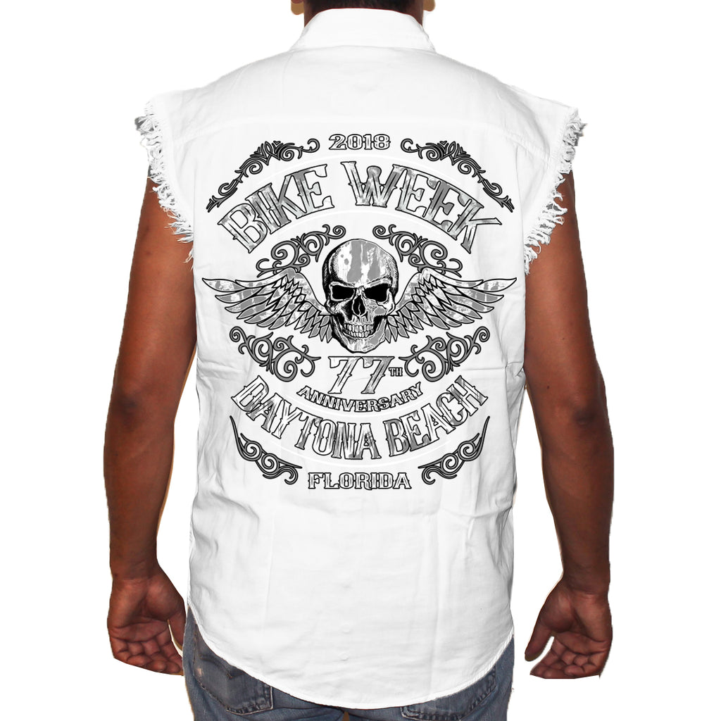 2018 Bike Week Daytona Beach Ascended Skull Cut-Off Denim