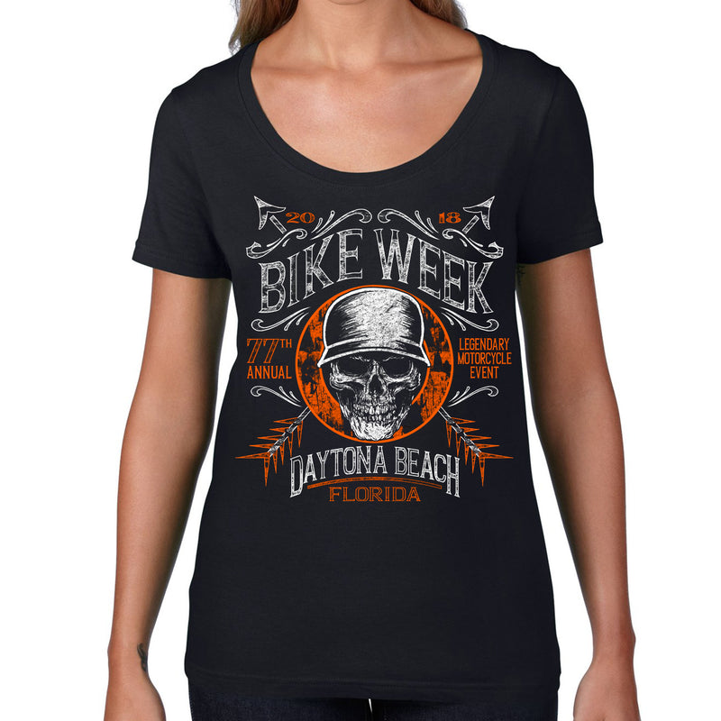 Ladies 2018 Bike Week Daytona Beach Helmet Hair Scoop Neck T-Shirt