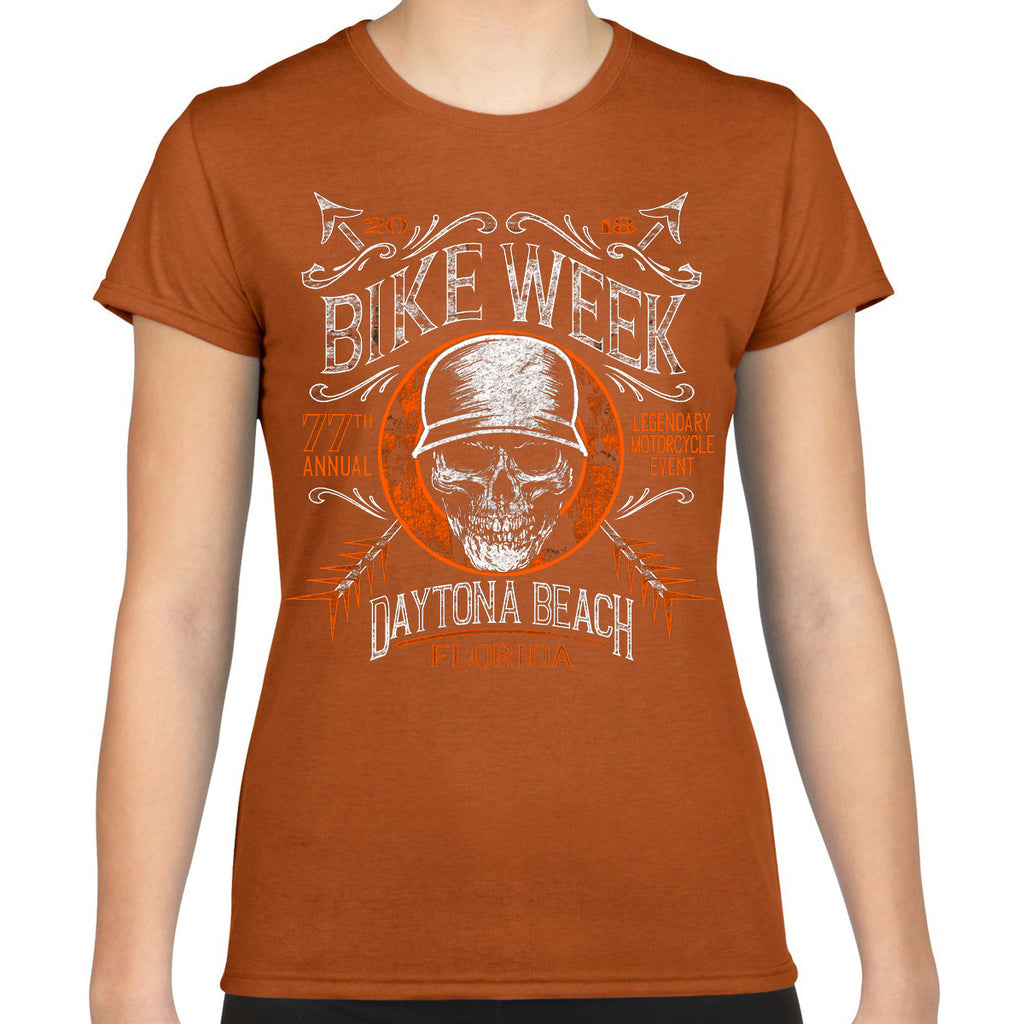Ladies 2018 Bike Week Daytona Beach Helmet Hair Cap Sleeve Tee