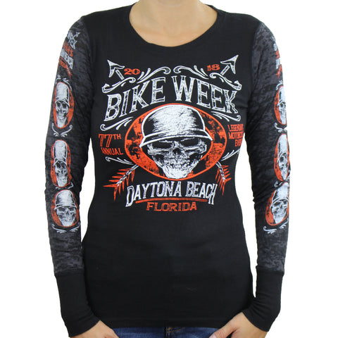 Ladies 2018 Bike Week Daytona Beach Helmet Hair Burnout Combo Long Sleeve