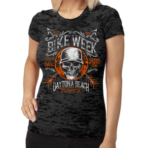 Ladies 2018 Bike Week Daytona Beach Helmet Hair Burnout T-Shirt
