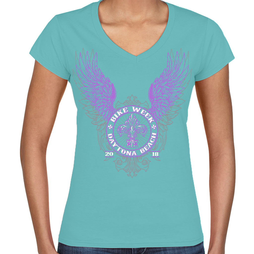 Ladies 2018 Bike Week Daytona Beach Purple Fluer de Wings V-Neck T-Shirt