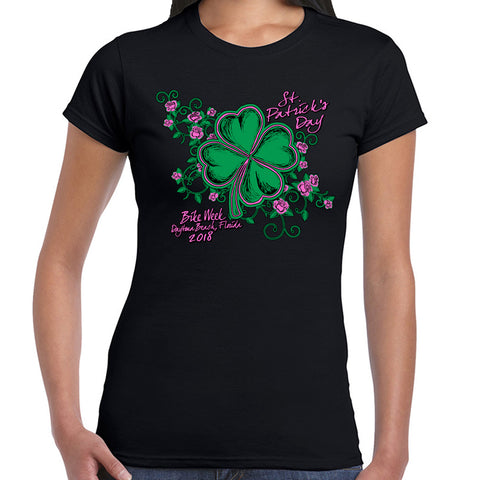 Ladies 2018 Bike Week Daytona Beach St Patty's Cap Sleeve Tee