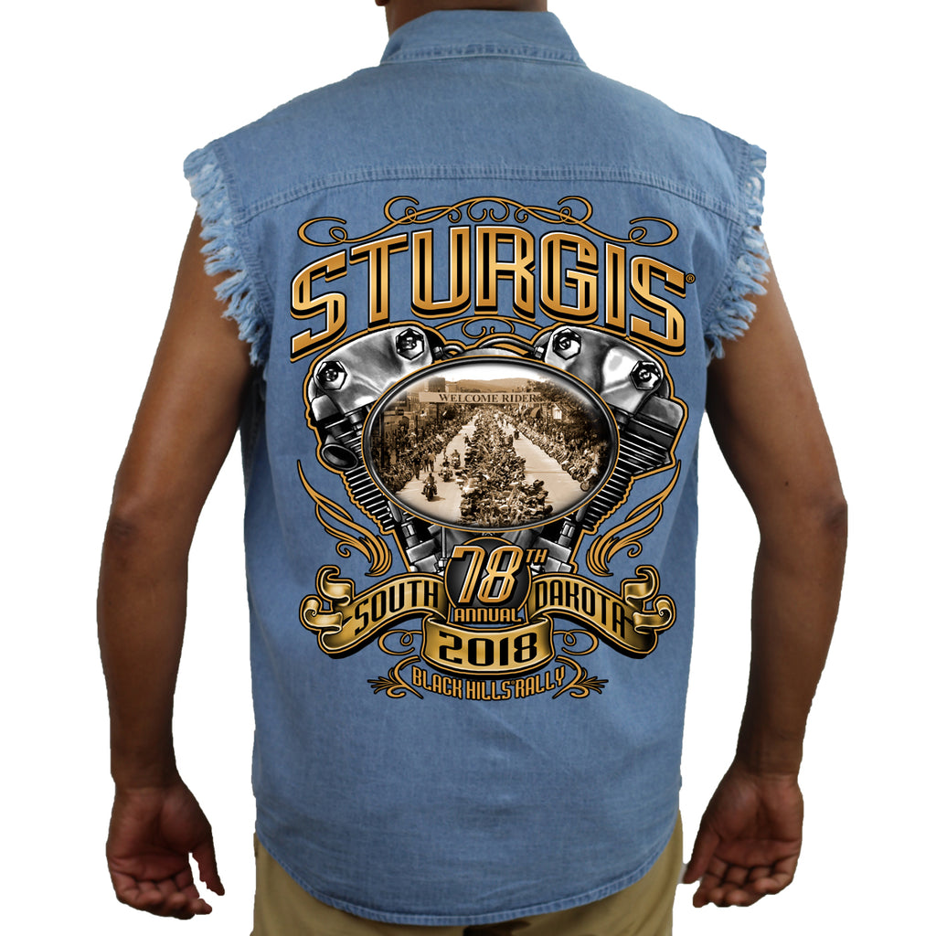 2018 Sturgis Black Hill Rally Main Street Engine Cut-Off Denim