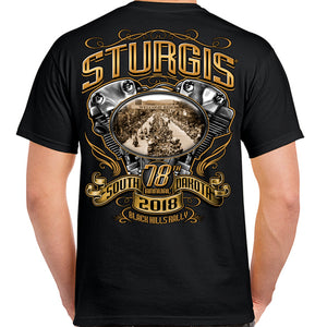 2018 Sturgis Black Hills Rally Main Street Engine T-Shirt