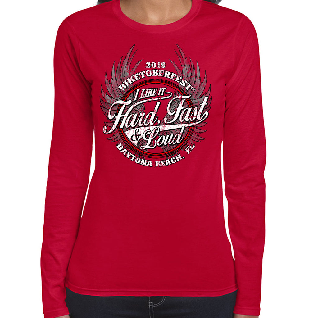 Ladies 2019 Biketoberfest Daytona Beach Fast Hard & Loud Long Sleeve