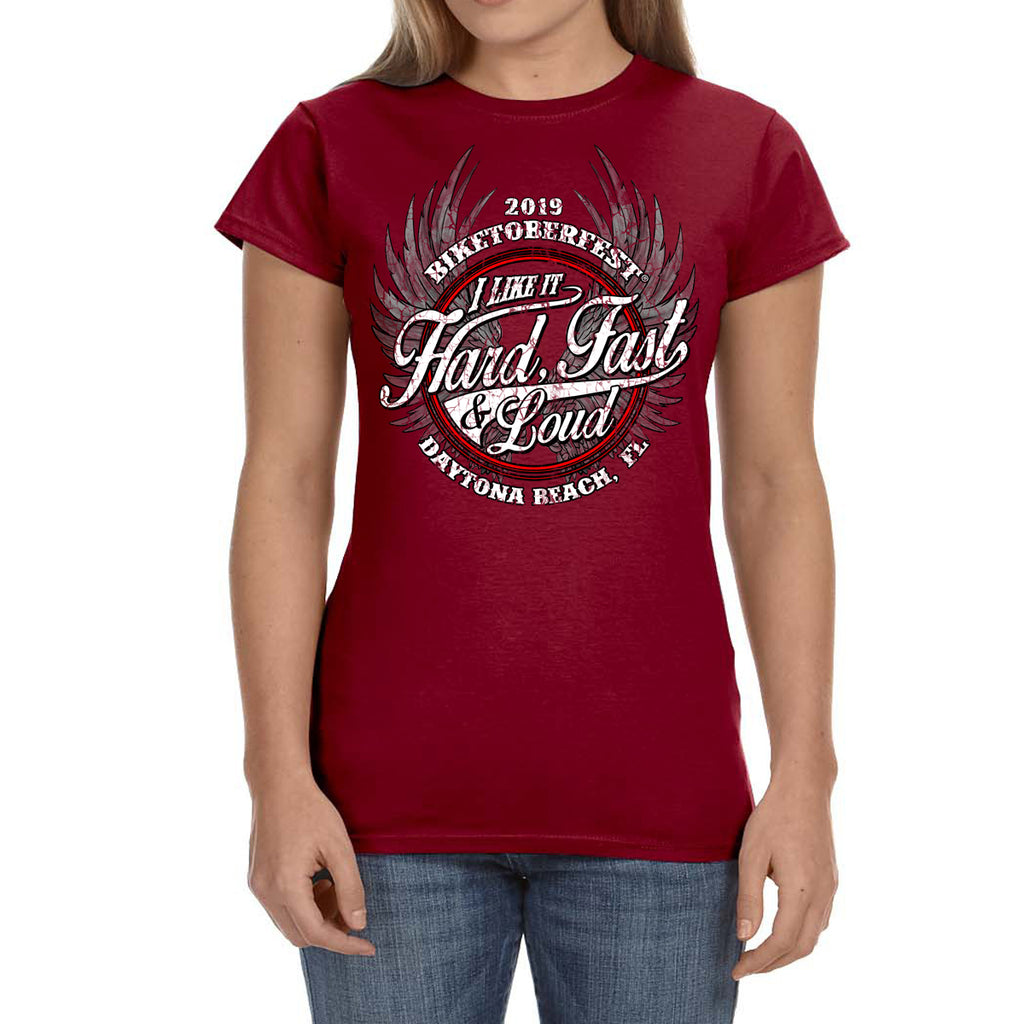 Ladies 2019 Biketoberfest Daytona Beach Fast Hard & Loud T-shirt