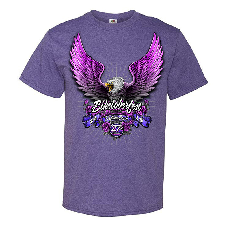 Ladies 2019 Biketoberfest Daytona Beach Pink Eagle T-Shirt