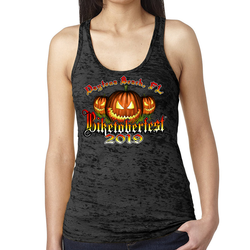 Ladies 2019 Biketoberfest Daytona Beach Jack o'Lantern Burnout Tank Top