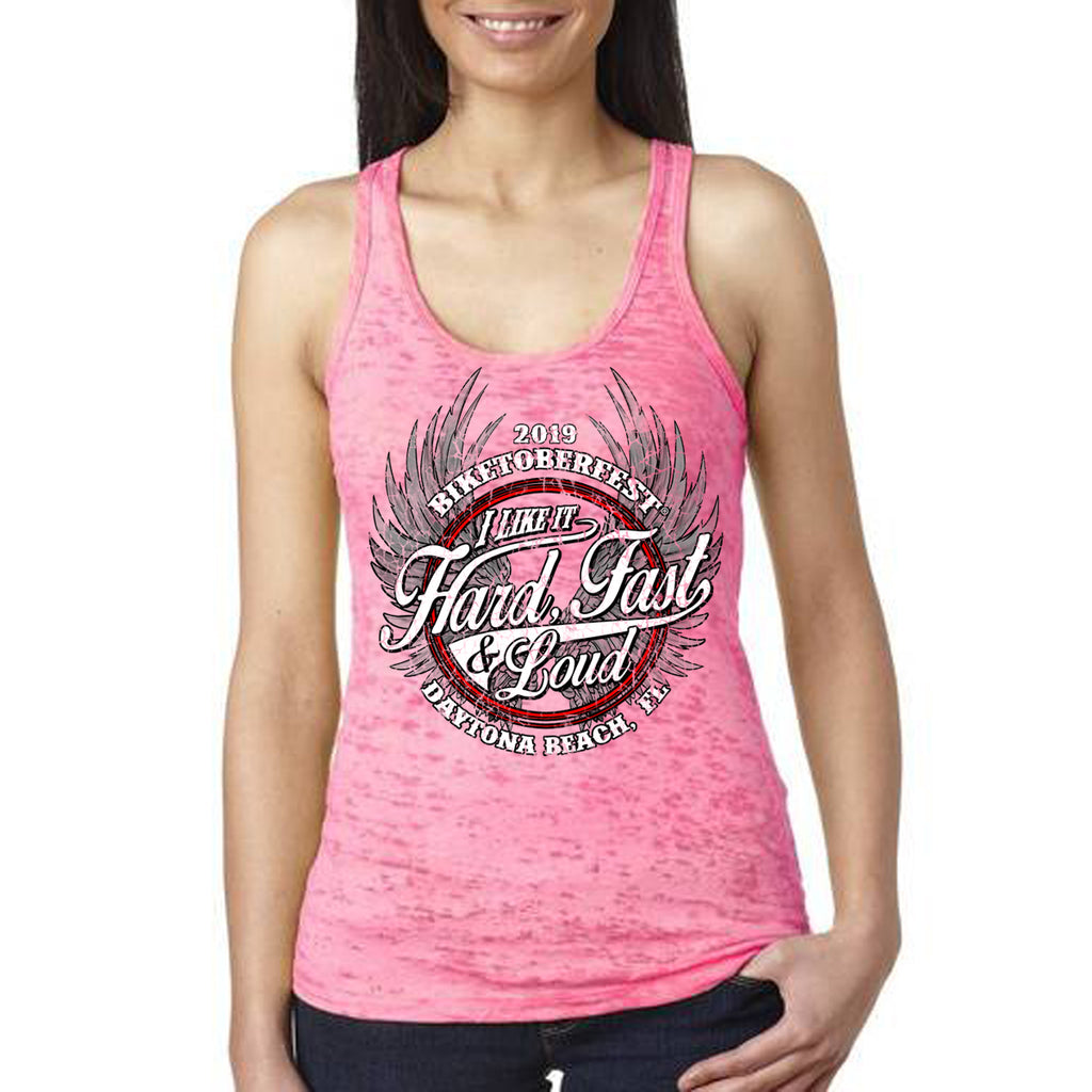 Ladies 2019 Biketoberfest Daytona Beach Fast Hard & Loud Burnout Tank Top