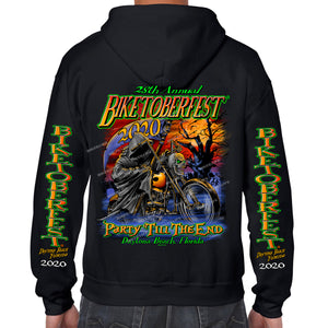 2020 Biketoberfest Daytona Beach Halloween Reaper Zip-Up Hoodie