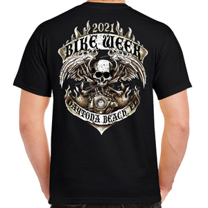 2021 Bike Week Daytona Beach Skull Flame Engine T-Shirt