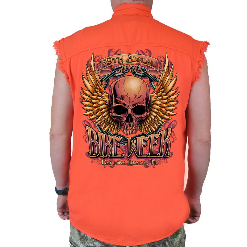 2020 Bike Week Daytona Beach Rockin' Skull Cut-Off Denim