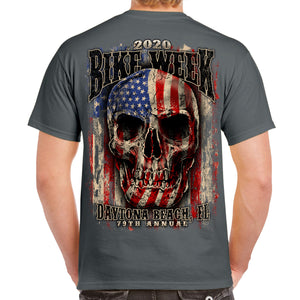 2020 Bike Week Daytona Beach Skull Flag T-Shirt