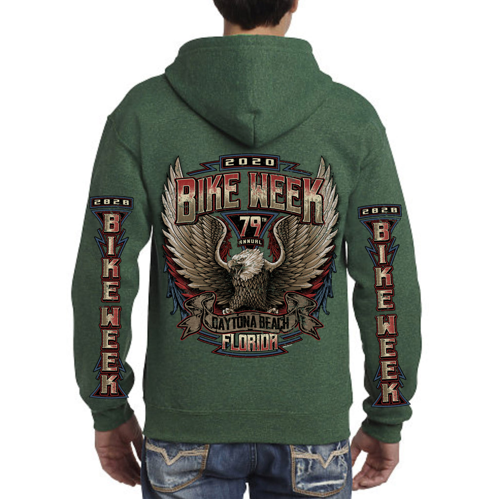 2020 Bike Week Daytona Beach Power Eagle Zip-Up Hoodie