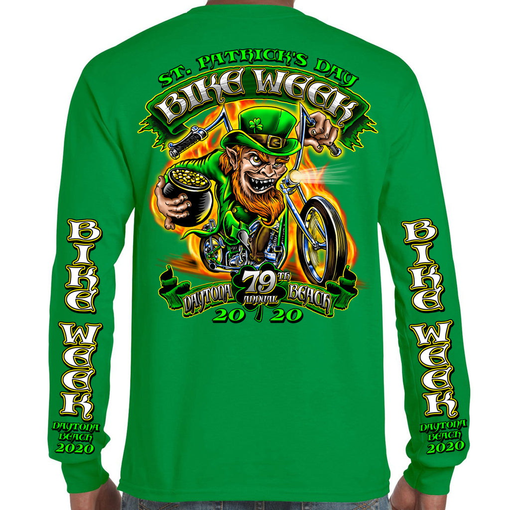 2020 Bike Week Daytona Beach Fiery Leprechaun Long Sleeve Shirt