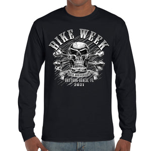 2021 Bike Week Daytona Beach Crossbones Skull T-Shirt Long Sleeve