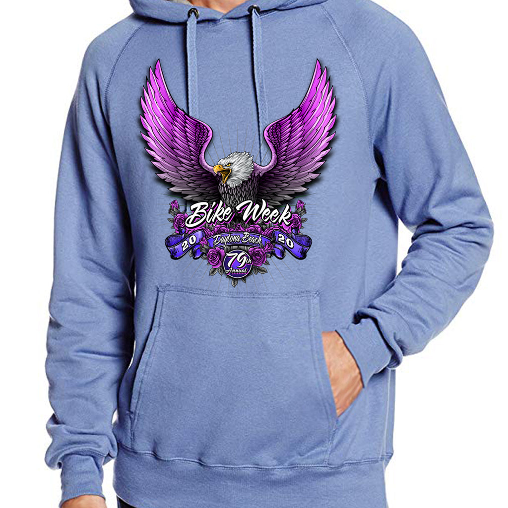 Ladies 2020 Bike Week Daytona Beach Pink Eagle Pullover Hoodie