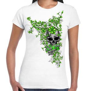 Ladies 2020 Bike Week Daytona Beach Skull Clover Cap Sleeve