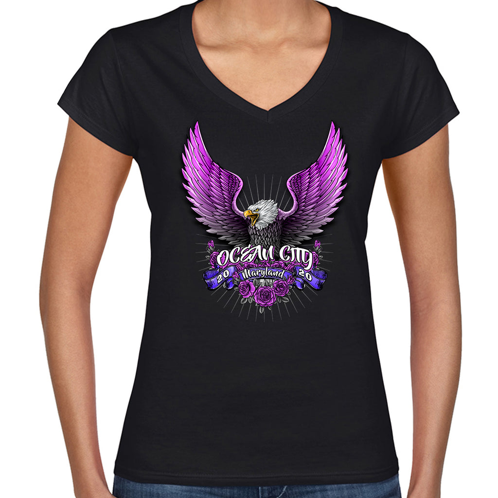 2020 Ocean City Rally Week  Ladies Pink Eagle V-Neck