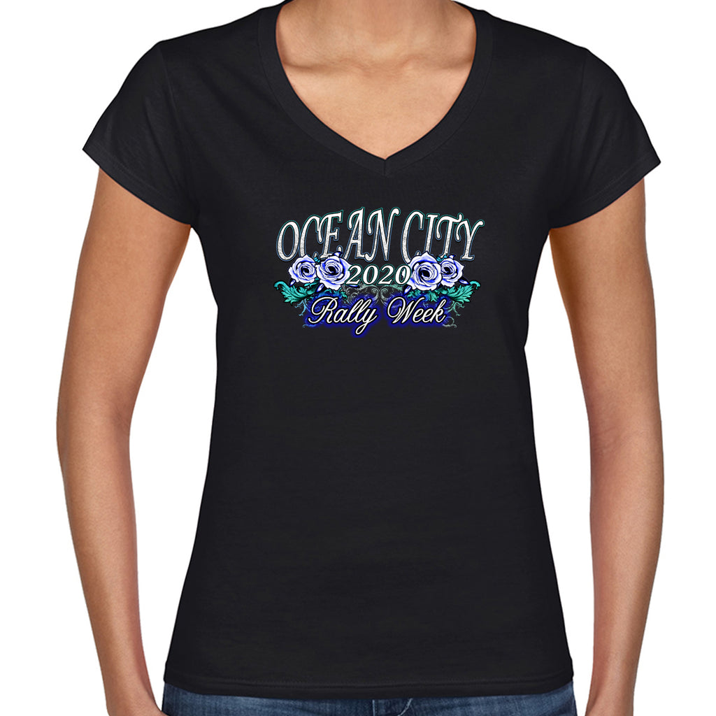 2020 Ocean City Rally Week Ladies Flamed Rose Bike V-Neck
