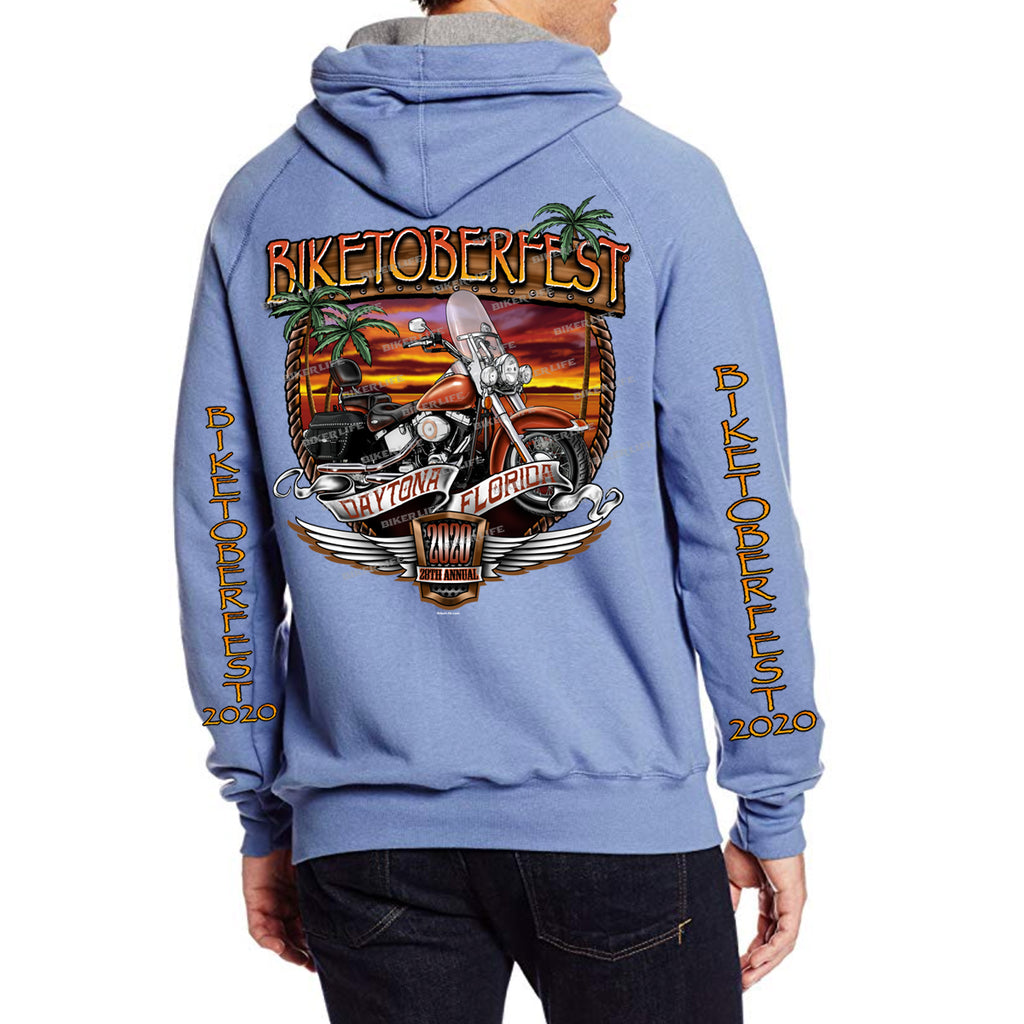 2020 Biketoberfest Daytona Beach Sunset Bike Shield Pullover Hoodie