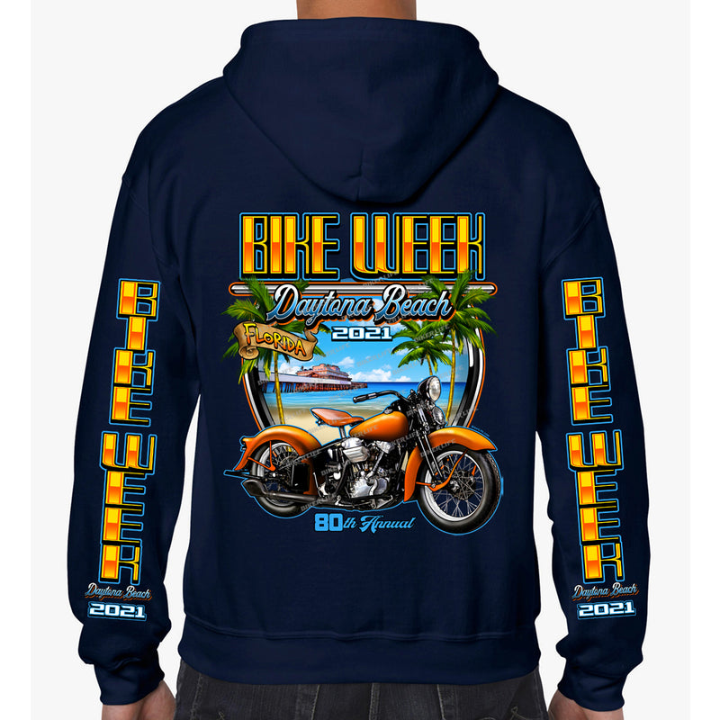 2021 Bike Week Daytona Beach Beach Shield Zip-Up Hoodie