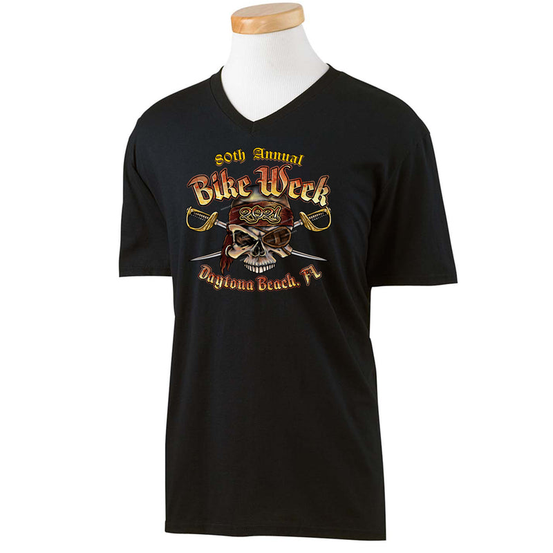 2021 Bike Week Daytona Beach Pirate Skull Men's V-Neck