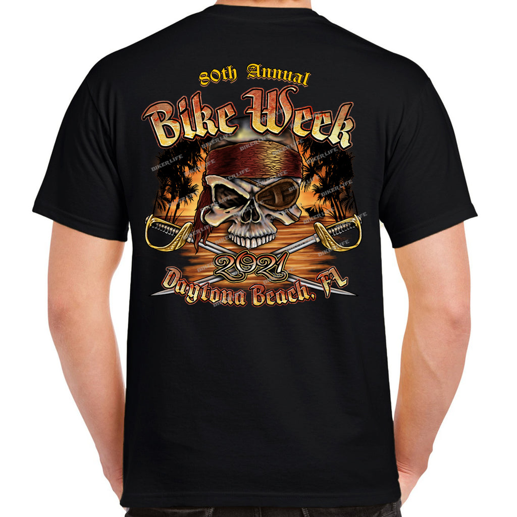2021 Bike Week Daytona Beach Pirate Skull T-Shirt