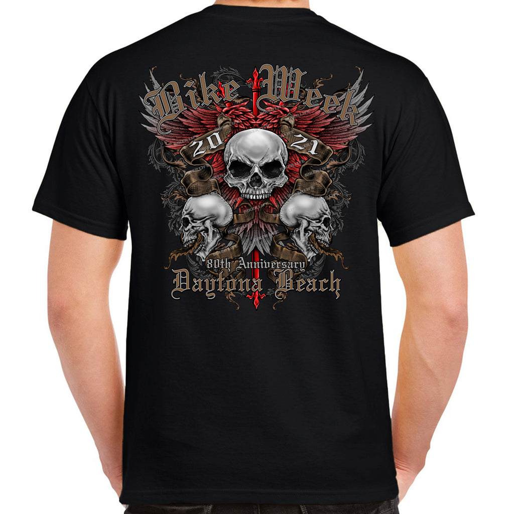 2021 Bike Week Daytona Beach Wing Skull T-Shirt