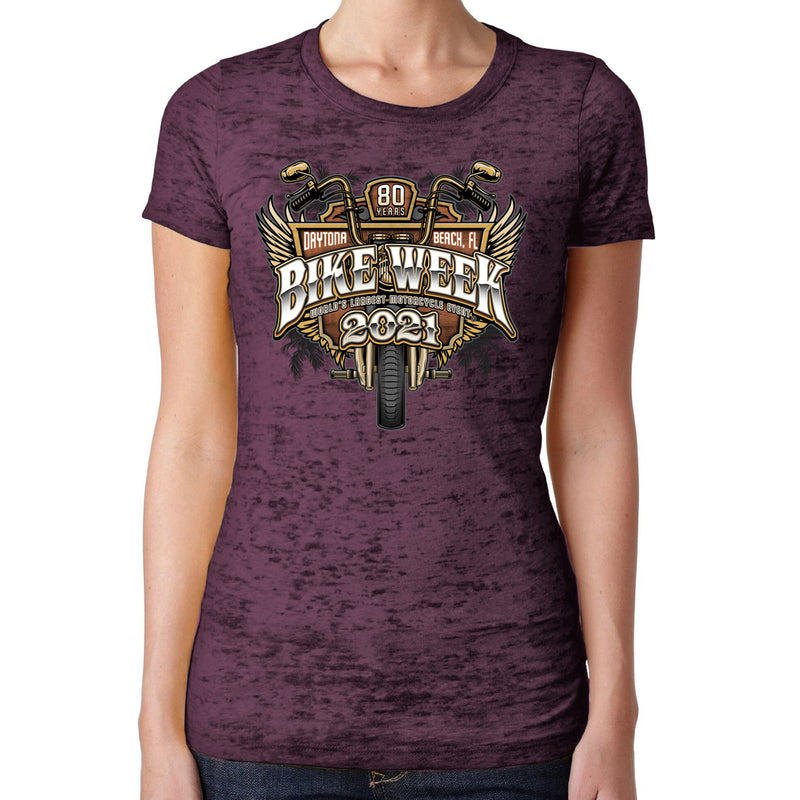 Ladies Jr. Cut 2021 Bike Week Daytona Beach Official Logo Burnout T-Shirt