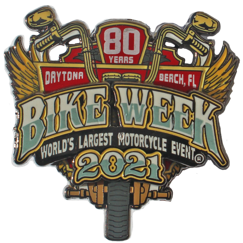 2021 Bike Week Daytona Beach 80th Anniversary Official Logo Pin