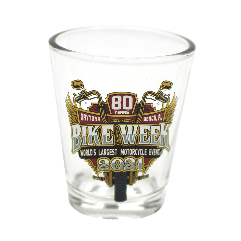 2021 Bike Week Daytona Beach 80th Anniversary Official Logo Shot Glass