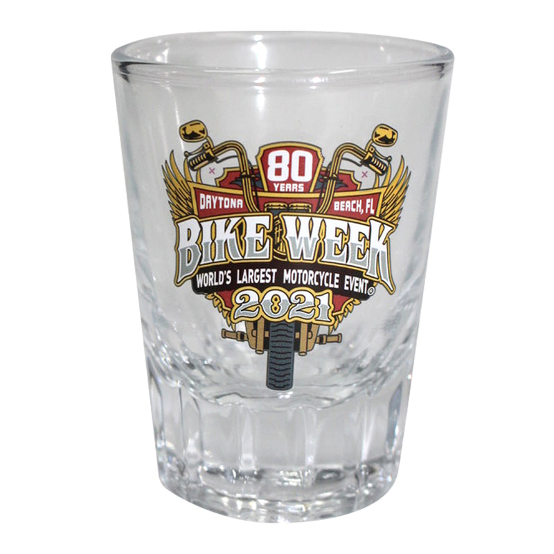 2021 Bike Week Daytona Beach 80th Anniversary Official Logo Whiskey Shot Glass