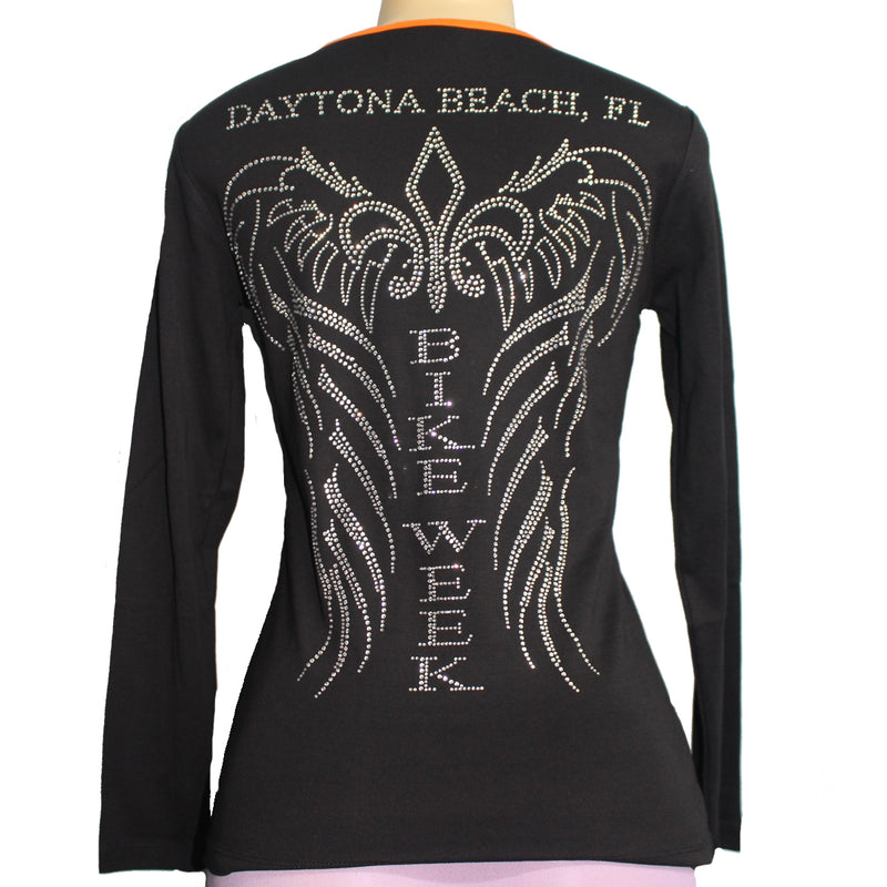 Ladies 2021 Bike Week Daytona Beach Rhinestone Bike Week Angel Wings Long Sleeve Shirt