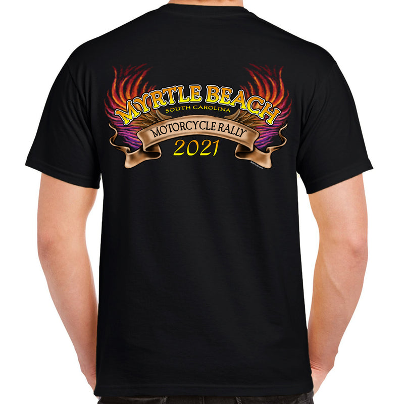 2021 Myrtle Beach Motorcycle Rally Flaming Eagle Engine T-Shirt