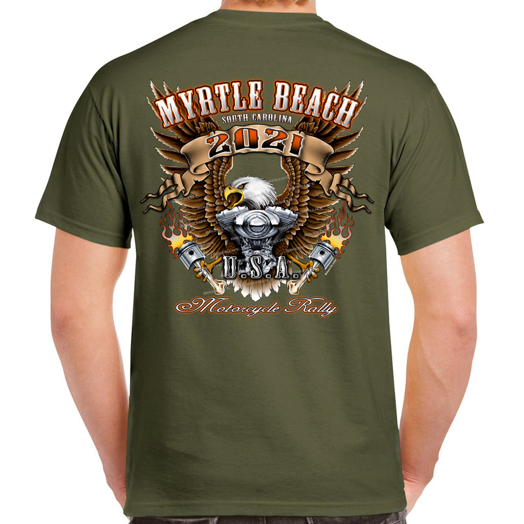 2021 Myrtle Beach Motorcycle Rally Flying Pistons T-Shirt