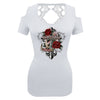 Ladies 2021 Panama City Beach Rally Week Cross Roses Cut Shoulder Lace Back Shirt