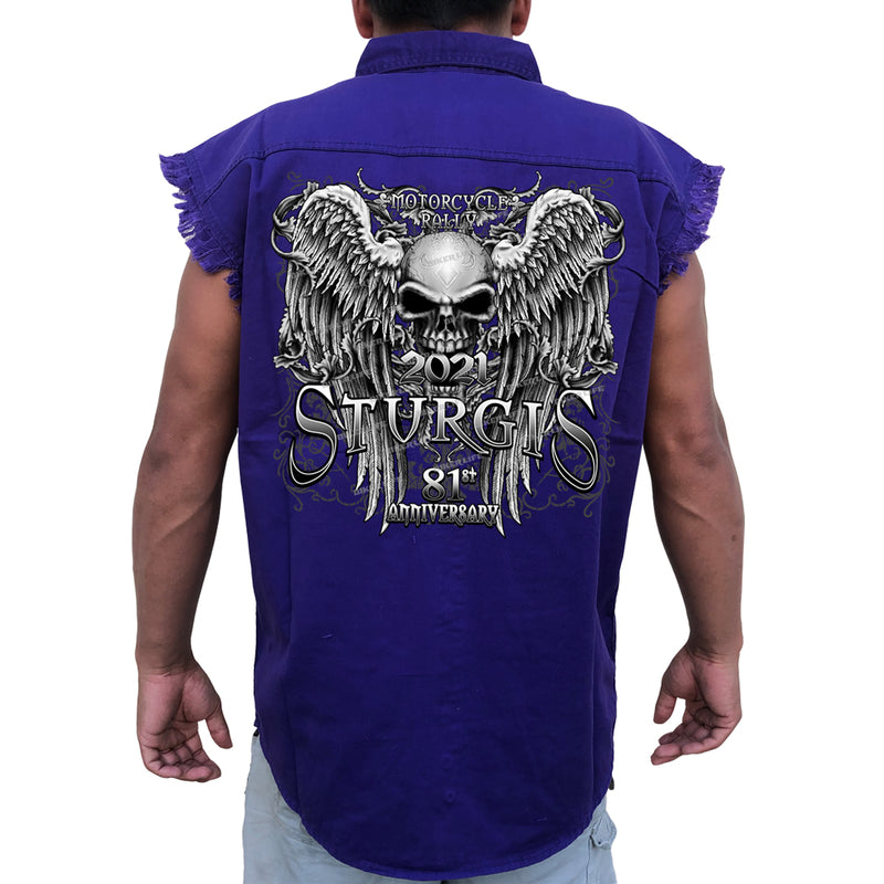 2021 Sturgis Motorcycle Rally Fleur De Lis Granite Skull Wings Cut-Off Denim