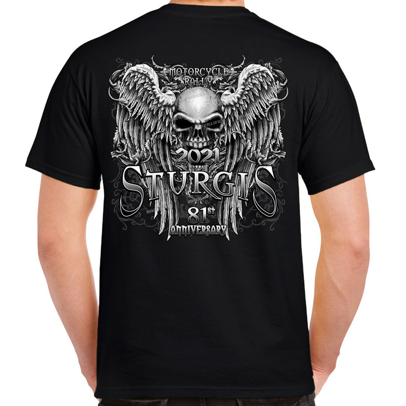2021 Sturgis Motorcycle Rally Fleur De Lis Granite Skull Wings T-Shirt