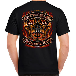 2021 Sturgis Motorcycle Rally Flaming Skull T-Shirt
